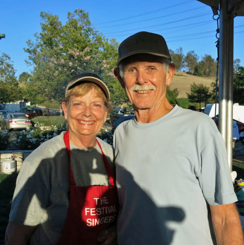 Beth and Dick McConaughy - Hot Dog Sale July 4 2015 Laguna Hills